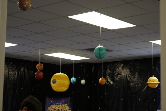 Lifeway galactic starveyors vbs 2017 decoration ideas - Hanging planets decorations ...
